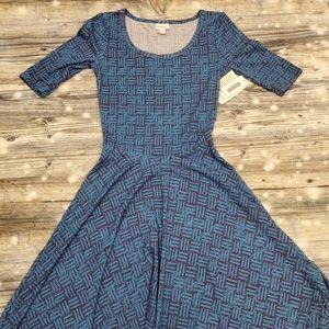 Lularoe Nicole Dress XXS Geometric Blue Black